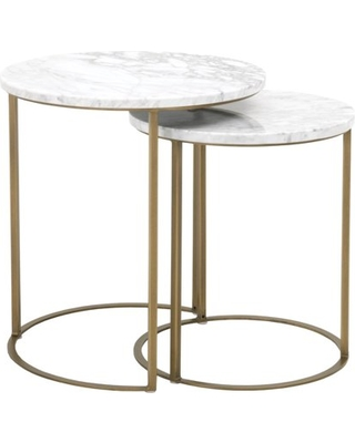 Marble Top Round Nesting Table With Brushed Gold Base, White, Set Of Two