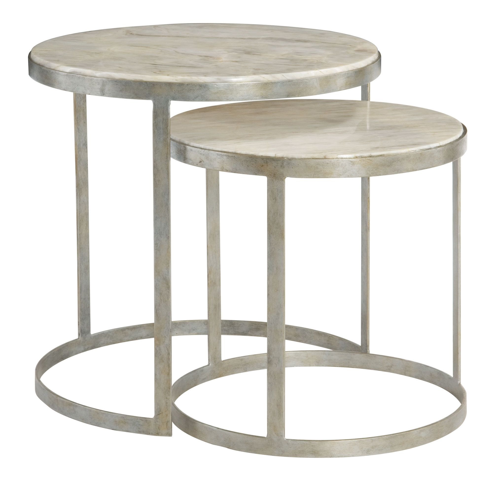 362-031 Tiffin Nesting Tables | Bernhardt Round Dia 24.5 H 24 Century Marble  Top #LightFinish $1665 #2Foot
