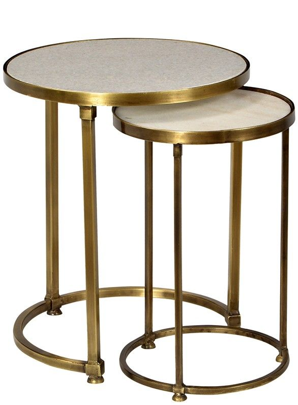 clifford nesting tables - These beautiful round nesting side tables have an  polished white marble inset top featuring a frame finished in antique brass.