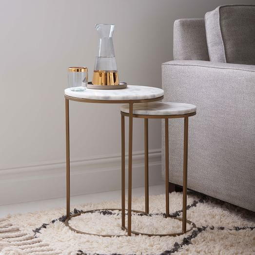 Accessorize your home with round nesting   tables marble top