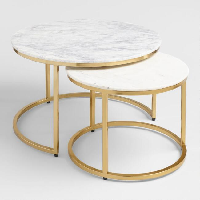 Ayva Round White Marble Brass Nesting Tables
