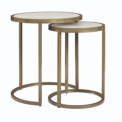 Faux Marble Top Nesting Tables, Set of 2, Side Coffee Table, Round Shape