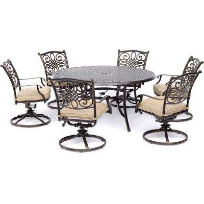 Traditions 7-Piece Aluminum Outdoor Dining Set with 6 Swivel Rockers with  Tan Cushions and