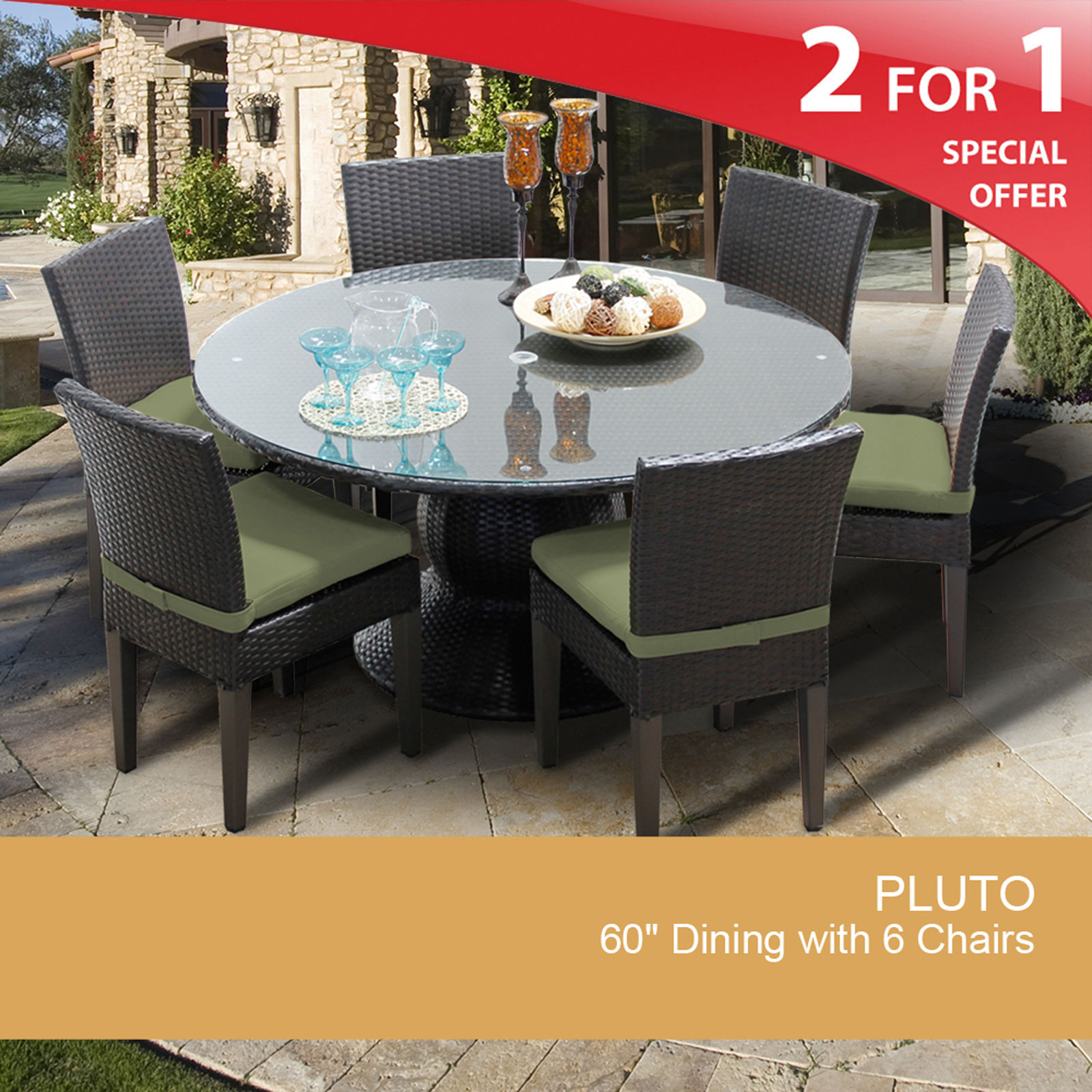 Pluto 60 Inch Outdoor Patio Dining Table With 6 Chairs - Design Furnishings