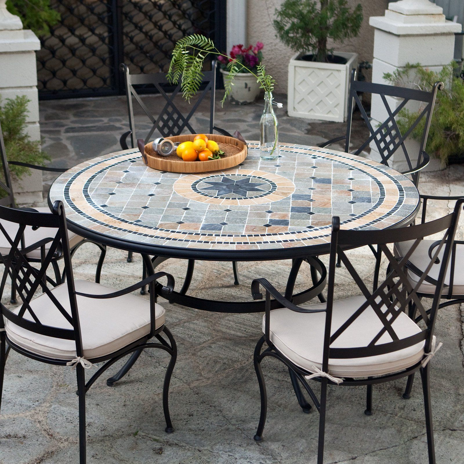 Have to have it. Palazetto Barcelona 60-in. Round Mosaic Patio Dining Set -  Seats 6 $2199.99