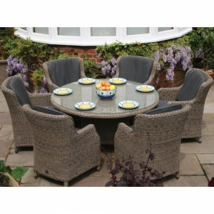 Outdoor Furniture Round Patio Dining Sets For 6 Chairs Metal Set intended  for Round Patio Dining