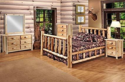 Amazon.com: Rustic 5 Pc Pine Log Bedroom Suite Lodge Bed (Queen