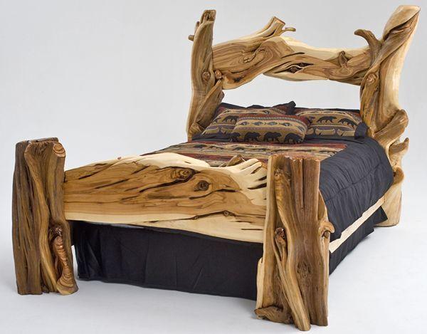 Rustic Bedroom Furniture, Log Bed, Mission Beds, Burl Wood