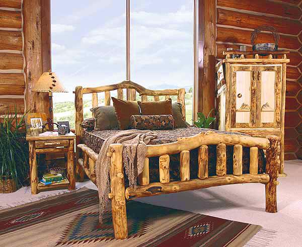 Rustic Log Bedroom Furniture | Log Furniture Bed | Reclaimed Wood