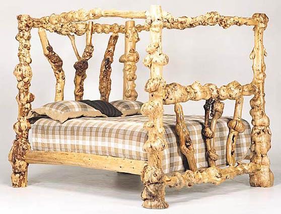 Log Furniture at Bent Log Designs;Rustic Furniture:Log bed, Aspen