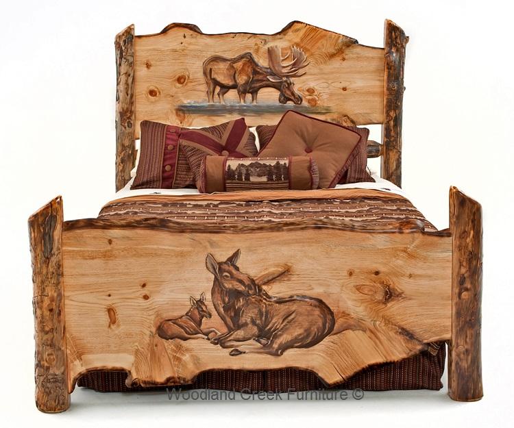 Carved Log Bed, Cabin Furniture, Lodge Bedroom, Rustic