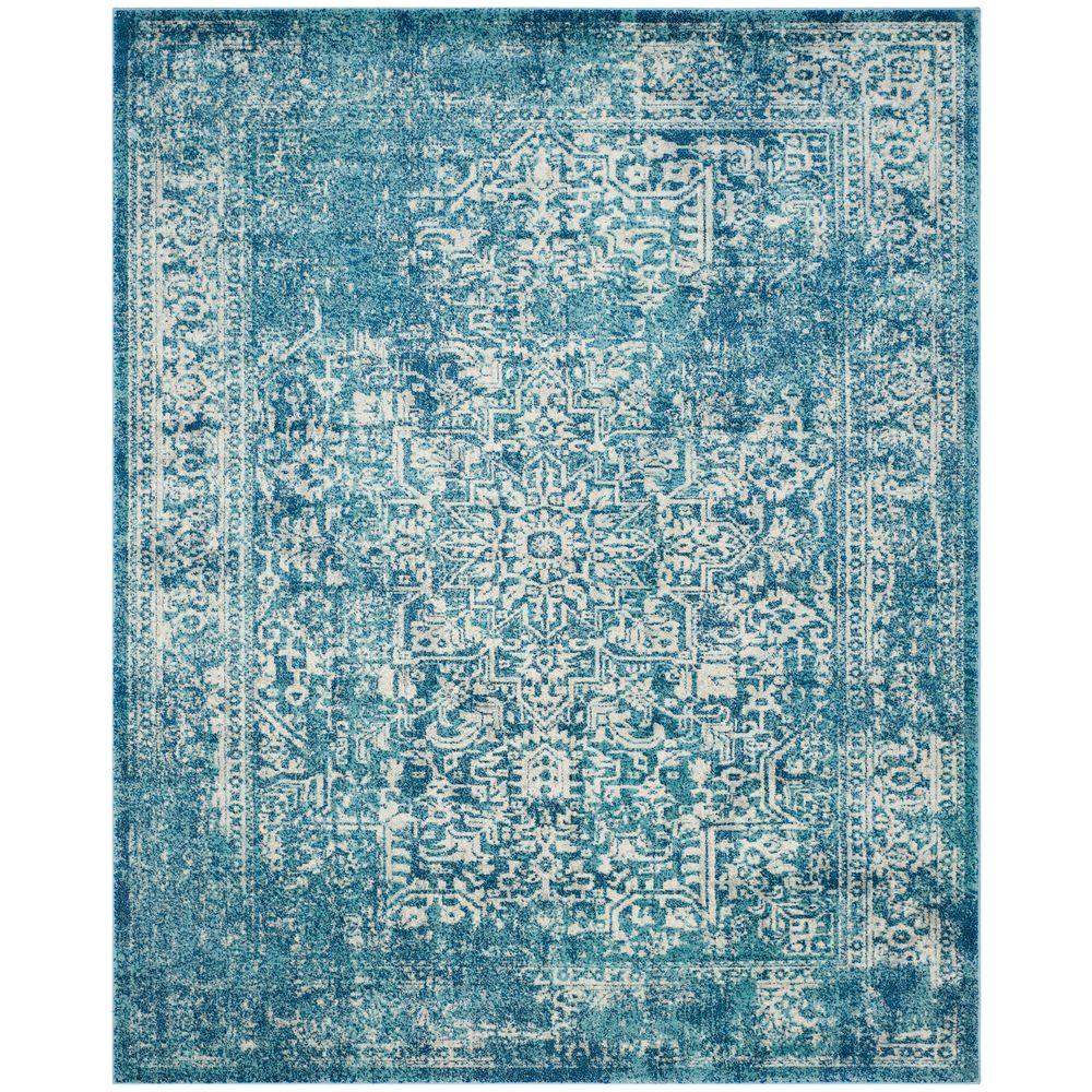 Safavieh. Evoke Blue/Ivory 8 ft. x 10 ft. Area Rug