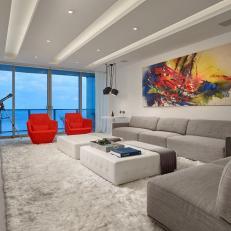 White Modern Living Room With Shag Rug