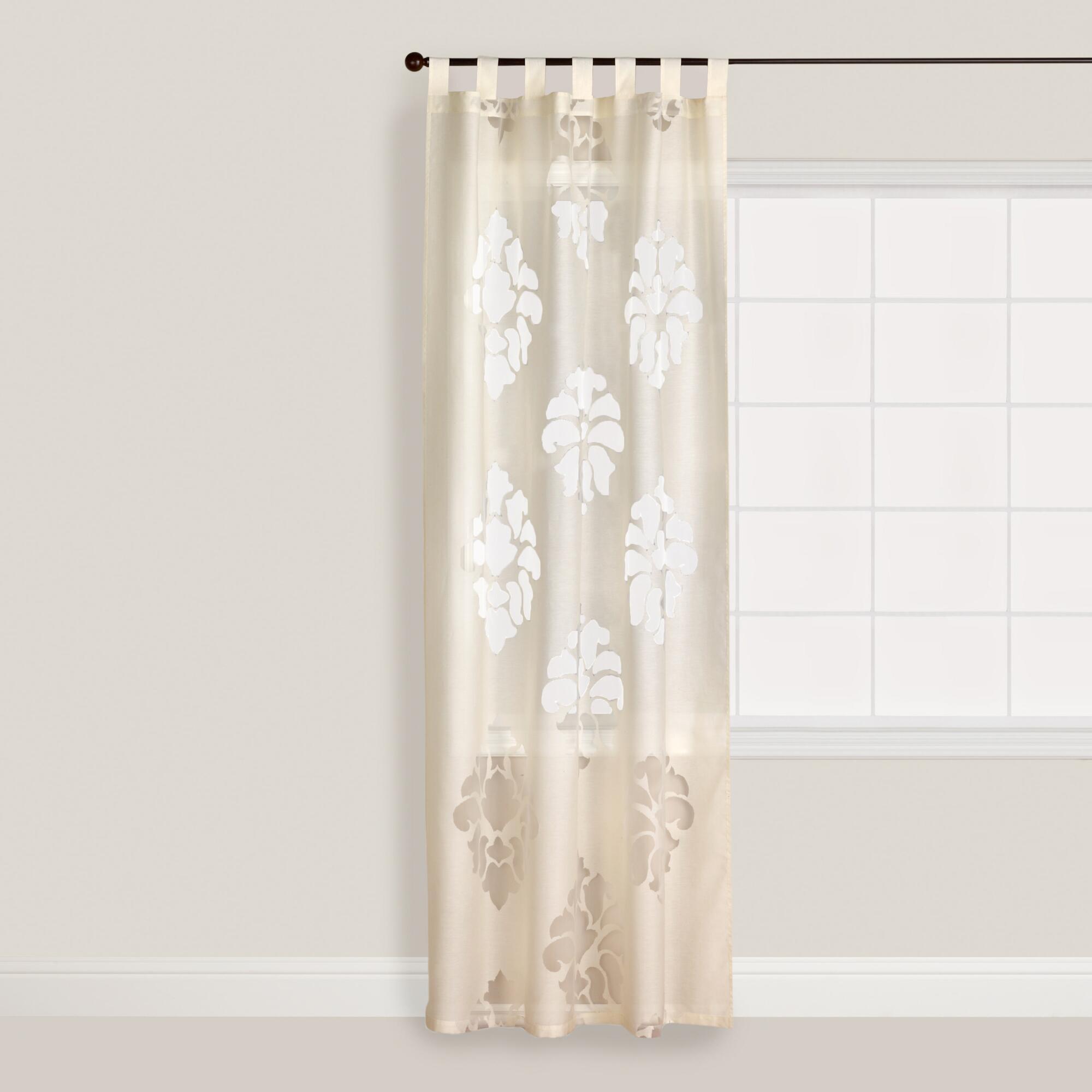 ivory damask burnout sheer curtain