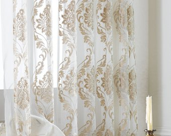 Two Damask Sheer Curtains Custom Made to Order. Embroidered Damask Pattern  On White Background. Custom Size Available. Four colors.