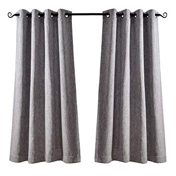 MYSKY HOME Short Blackout Curtains for Living Room Faux Linen Thermal  Insulated Grommet Top Room Darkening