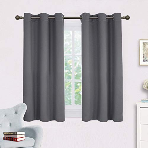 NICETOWN Grey Blackout Curtain Panels for Bedroom, Thermal Insulated  Grommet Top Blackout Draperies and Drapes