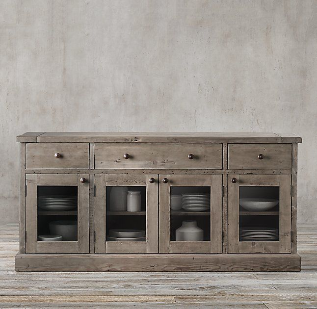 Salvaged Wood Glass Dining Sideboard in salvaged grey, from