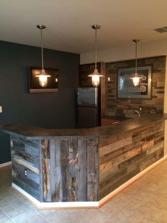 1. simple and cozy Basement bar idea