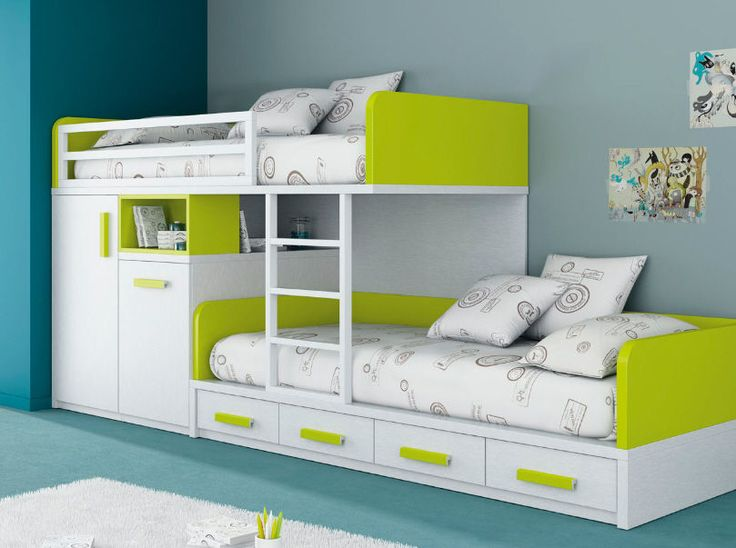 Kids Beds With Storage for a Tidy Room : Extraordinary White Green Bunk Kids  Beds With Storage Design Ideas | Kid stuff | Modern bunk beds, Bedroom,