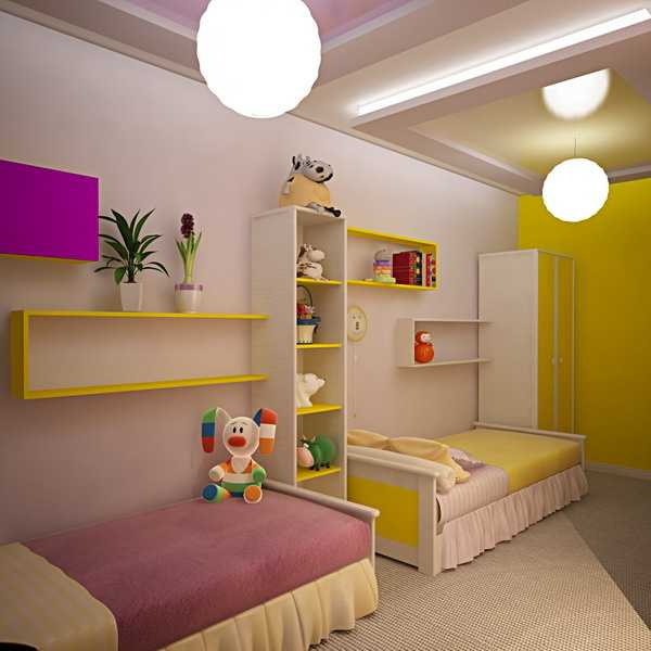 boy and girl children bedroom in two colors