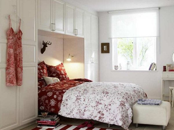 Collect this idea photo of small bedroom design and decorating idea - red  and white