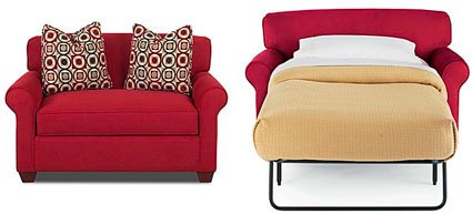 If a modern style is your preference, Amazon has a love seat option for  $378: