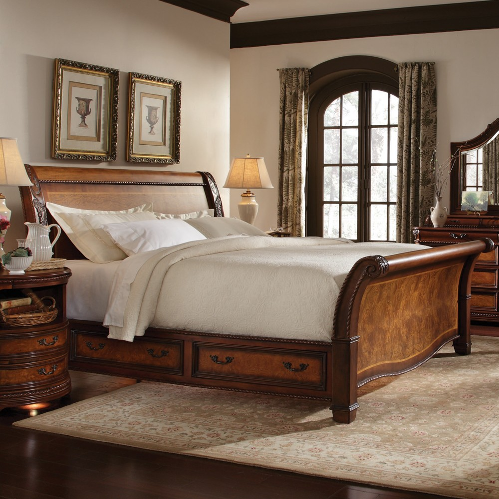 Napa Wood Storage Sleigh Bed in Cherry
