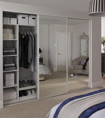 Mirror Door White Edge | Sliding Wardrobe Doors | Doors & Joinery | Howdens  Joinery