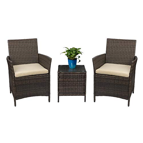 Devoko Patio Porch Furniture Sets 3 Pieces PE Rattan Wicker Chairs Beige  Cushion with Table Outdoor
