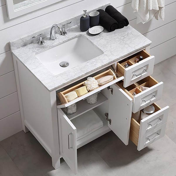 White vanity storage idea for small bathroom #vanity #bathroomvanity  #vanityideas #bathroom #