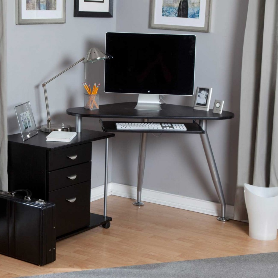Perfect Workspace With Chic Small Corner Computer Desk Offer Minimalist  Black File Drawers corner computer table
