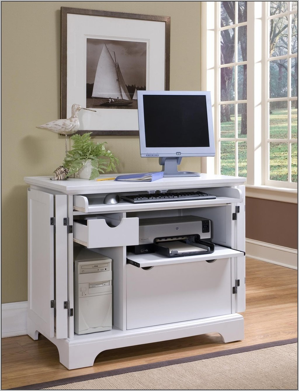 Image of: Compact Computer Desk Storage Whitevan White Corner Computer Desk,  Creating A Modern