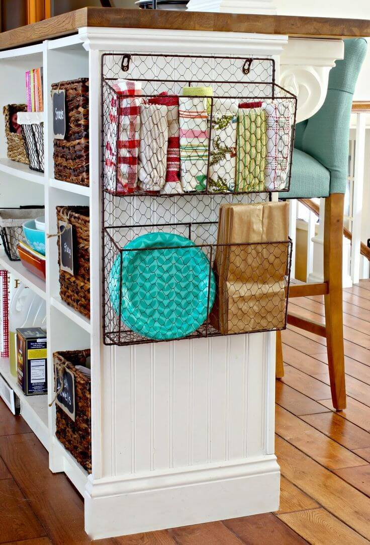 Storage Baskets for Your Cabinet Ends