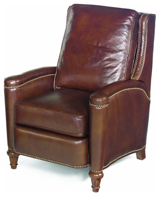 Leather Recliner W Cushioned Seat And Back Traditional small leather  recliner chair