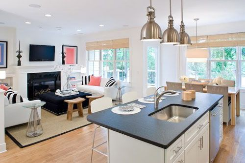 kitchen attached to small family room | Small Open Kitchen Design