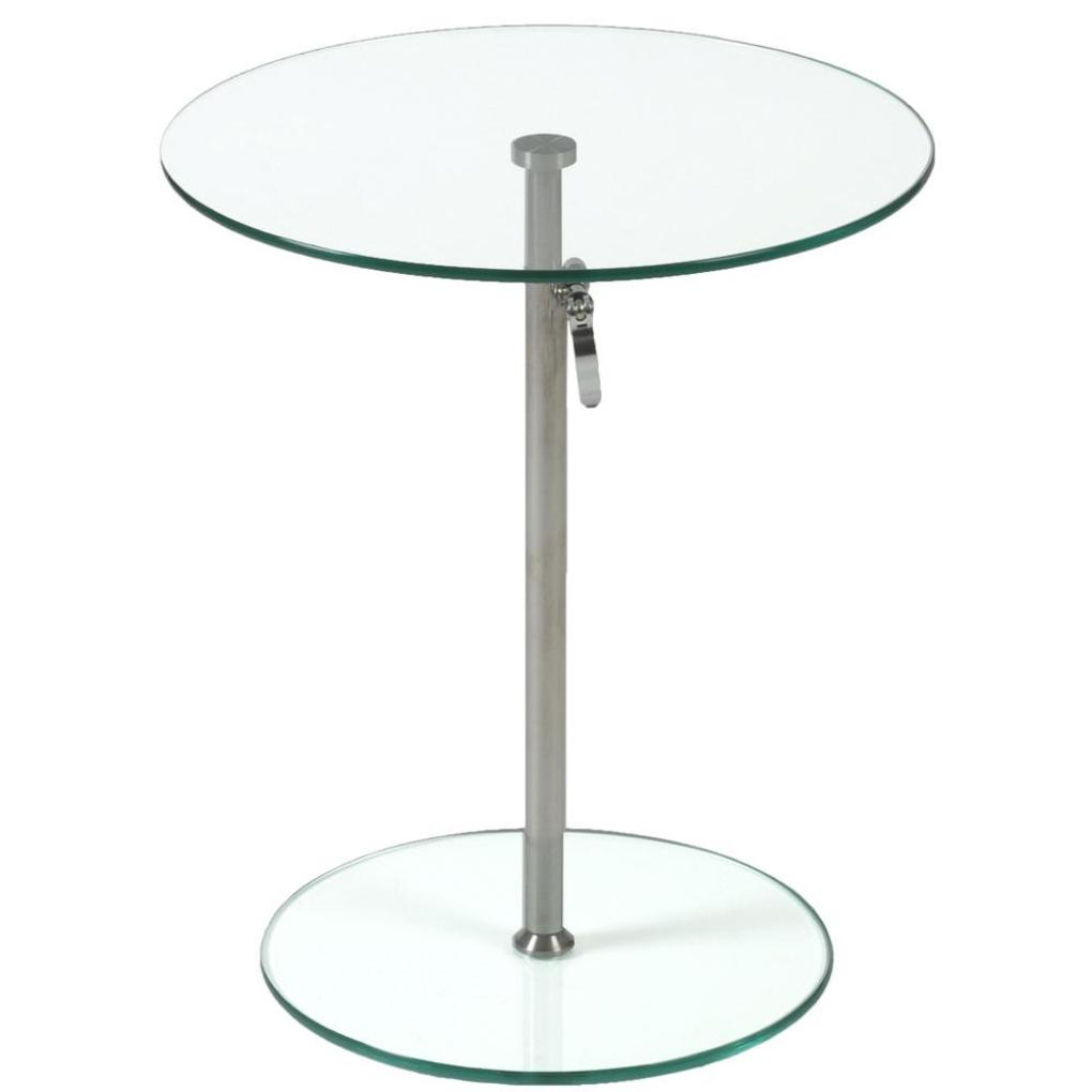 Rafaella Round Glass Side Table-Clear-Chrome