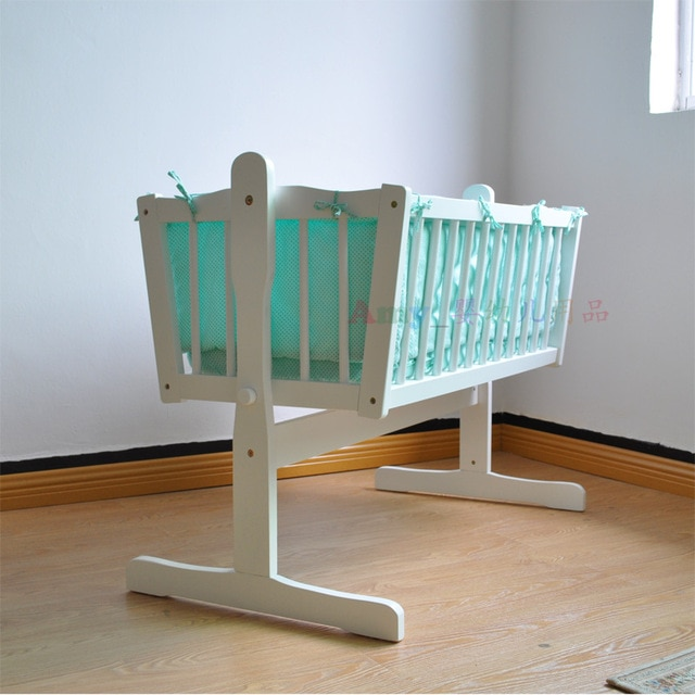Small Bed Solid Wood European High end Baby Bed Cradle-in Baby Cribs