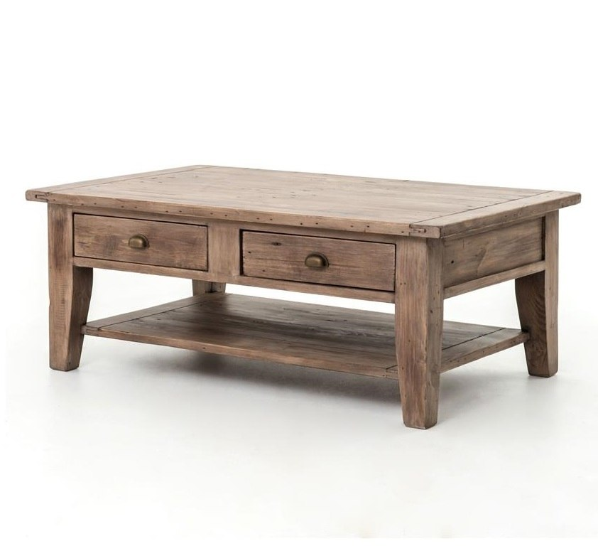 Coastal Solid Wood Coffee Table with 2 Drawers