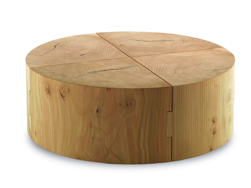 Round solid wood coffee table ECO BLOCK | Round coffee table by Riva 1920