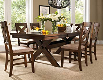 Amazon.com - Roundhill Furniture Karven 7-Piece Solid Wood Dining