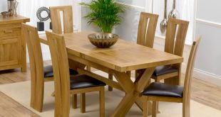 Remarkable Extending Dining Table And 6 Chairs Solid Oak Leather