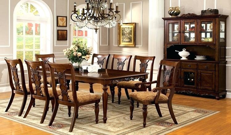 formal dining turned legs dark oak finish solid wood set room sets for sale  p