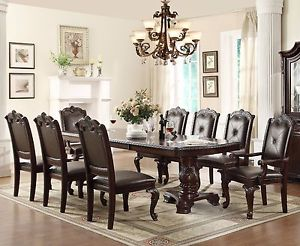 Image is loading 9-PC-English-Antique-Formal-Dining-Room-Furniture-