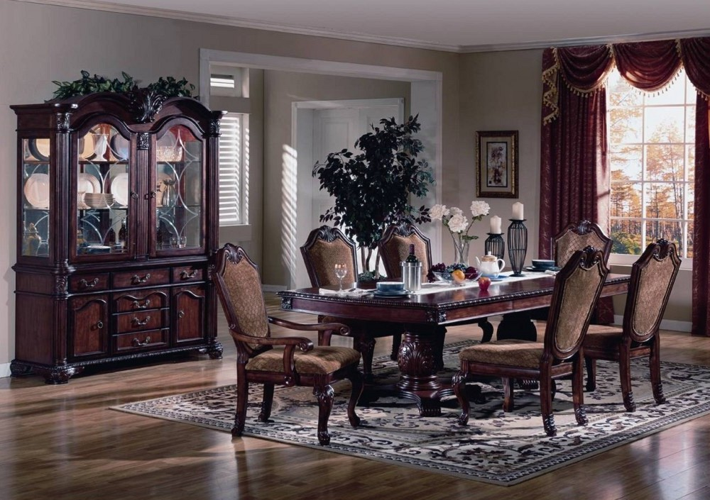 Fabulous Solid Wood Formal Dining Room Sets Dark Brown Finish Solid Wood  Long Table