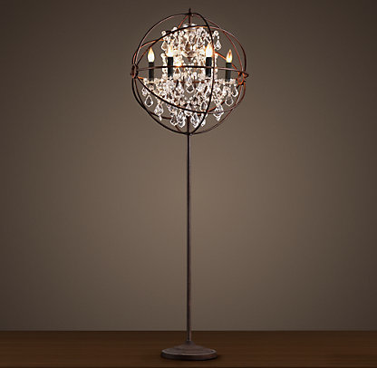 STANDING CAGED CHANDELIER FLOOR LAMP on The Hunt