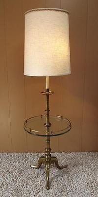 Vintage MID CENTURY MODERN Stiffel Brass Floor Lamp w/Glass Table. Had  these too.