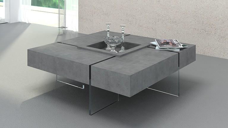 Table basse carrée avec pieds en verre design Crystalline Beton