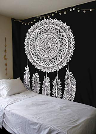 Black and White Tapestry, Dreamcatcher Wall Hanging Tapestry, Mandala  Tapestries, Indian Traditional Cotton