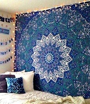 Large Indian Mandala Tapestry Hippie Tapestry Wall Hanging Throw Bedspread  Dorm Tapestry Kaleidoscopic Star Tapestry Wall
